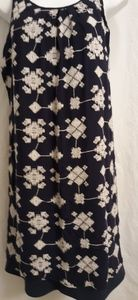 Luxology embroidered navy sun dress sz Med